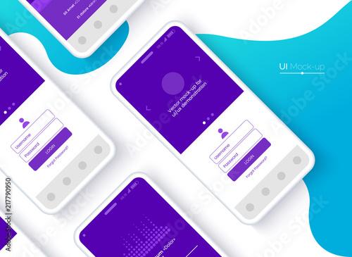 Obraz Conceptual mobile phones for user interface, user experience presentation. Smartphone mock-up. Mobile app interface design concept. Vector eps 10. - fototapety do salonu