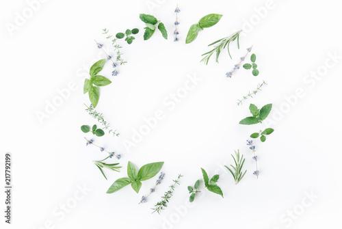Fototapeta essential oils with botles and herbs on white background obraz