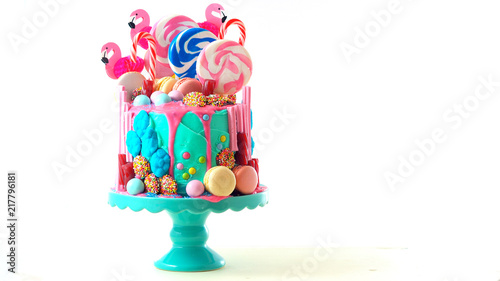 Photographie On-trend candyland fantasy drip cake for children's, teen's birthday, anniverary, mother's day and valentine's day celebrations, on white background