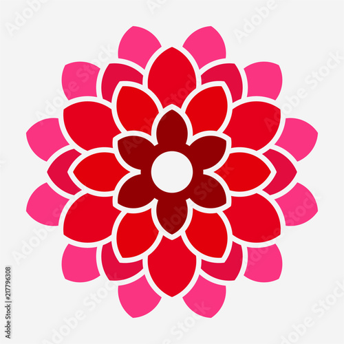 Canvas-taulu Flat Dahlia flower pixel perfect vector icon