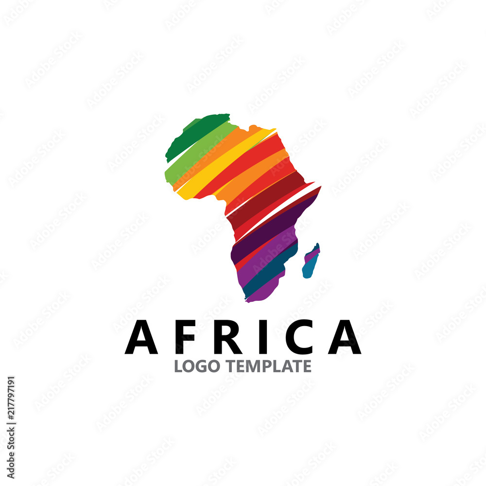 Fototapeta colorful africa map logo design template