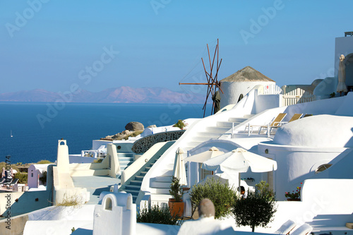 Windmill in Oia white village, Santorini Island, Greece