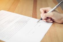Closeup Of Signing A Documenta...