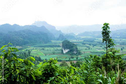 Spoed Foto op Canvas Blauwe jeans Mountain in the rainy season