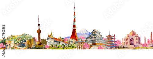 Fotografie, Obraz  Famous landmarks of the world
