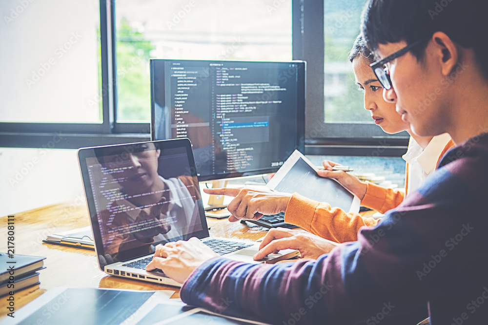 Fototapety, obrazy: Programmer working in a software development and coding technologies. Website design.Technology concept.