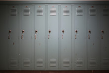 Back To School Concept - Light Blue Gray Student Lockers At A High School Or College