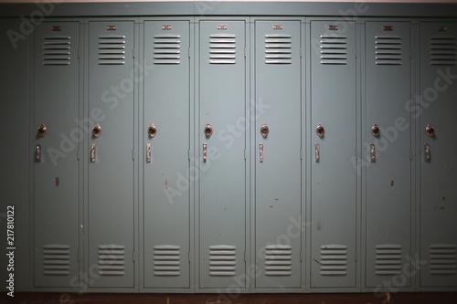 Fotografia, Obraz Back to School Concept - Light Blue Gray Student Lockers at a High School or Col