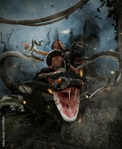 Fototapeta premium Gigantyczny wąż fantasy atakuje kobietę, 3d Technika mieszana dla ilustracji książki lub okładki książki