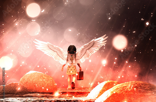 Canvastavla  Little angel's adventure in starry night,3d illustration conceptual background
