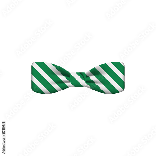Photo green striped colored bow tie icon