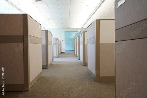 cubicles inside office building, place of work Fototapet