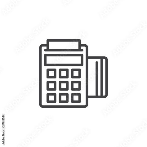 POS terminal outline icon  linear style sign for mobile