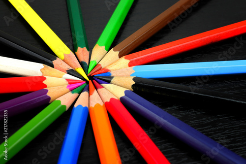 color wheel from a color spectrum of stationery crayons buy this