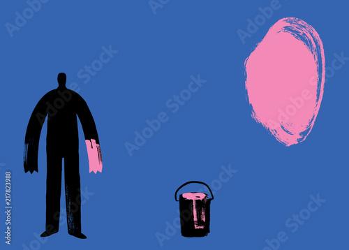 Valokuva  Man paints pink paint blob, Artist Painter, Paint Texture, Blue Background, Pink