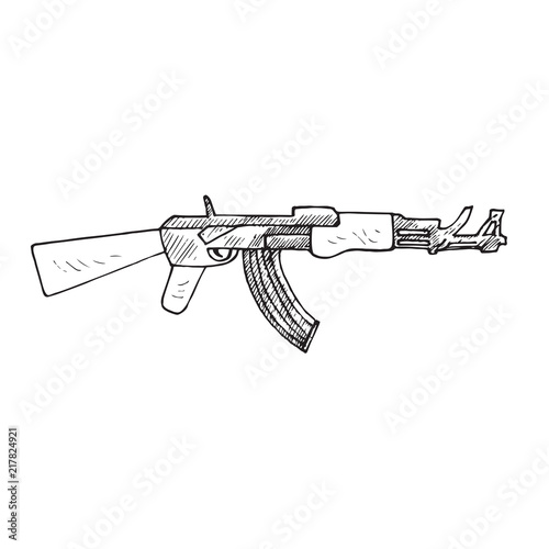 The AK-47, or AK  (Kalashnikov rifle), hand drawn doodle sketch, isolated vector Wallpaper Mural