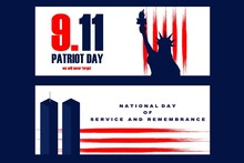 National Freedom Day Illustration With The Statue Of Libertyll And The World Trade Center Towers. Poster Or Banners Template - September 11. USA Flag Lines As Background.