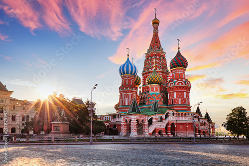 Wall Murals Moscow Moscow, Russia - Red square view of St. Basil's Cathedral at sunrise, nobody