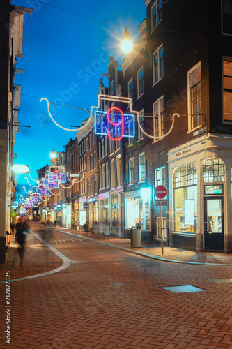 The Christmas decorated Hartenstraat in the old town of Amsterdam