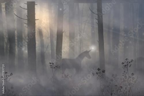 Obrazy Jednorożec   jednorozec-idzie-w-magicznym-lesie-bajkowego-poranka