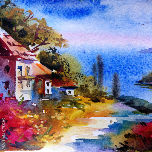 Plakaty na wymiar watercolor-colorful-bright-textured-abstract-background-handmade-mediterranean-landscape-painting-of-architecture-and-vegetation-of-the-sea-coast-made-in-the-technique-of-watercolors-from-nature