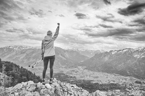 Woman on top of mountain Canvas Print