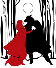 Little Red Riding Hood And The Wolf Dancing In The Forest In The Light Of The Full Moon