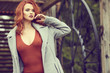 canvas print picture - Outdoor  lifestyle photo of young beautiful lady. red hair . Warm autumn. Warm spring