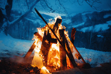 Winter Campfire In The Top Of ...