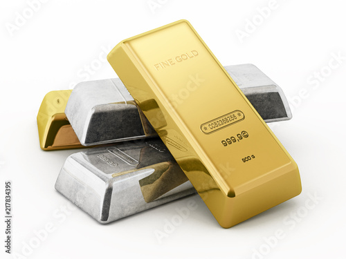 Leinwand Poster Gold and silver ingots isolated on white background
