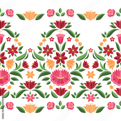 hungarian-folk-pattern-vector-seamless-border-kalocsa-embroidery-floral-ethnic-ornament-slavic-eastern-european-print-isolated-vintage-traditional-flower-design-for-woman-clothing