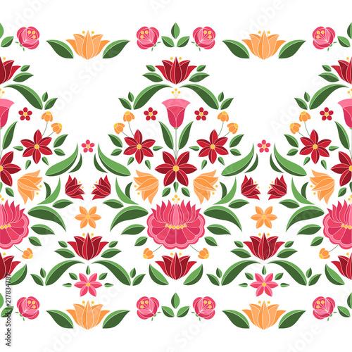 Foto auf AluDibond Boho-Stil Hungarian folk pattern vector seamless border. Kalocsa embroidery floral ethnic ornament. Slavic eastern european print isolated. Vintage traditional flower design for woman clothing.