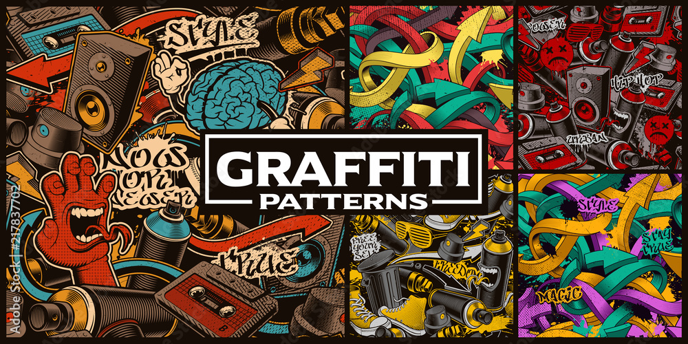 Fototapeta Set of seamless patterns with graffiti art