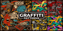 Set Of Seamless Patterns With Graffiti Art