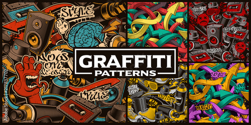 Ingelijste posters Graffiti Set of seamless patterns with graffiti art