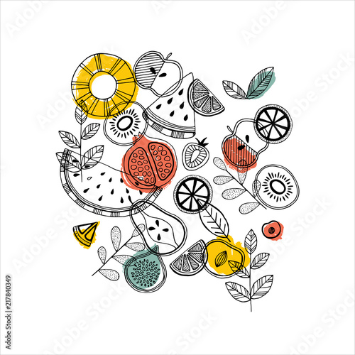 Fruit composition. Scandinavian style illustration.