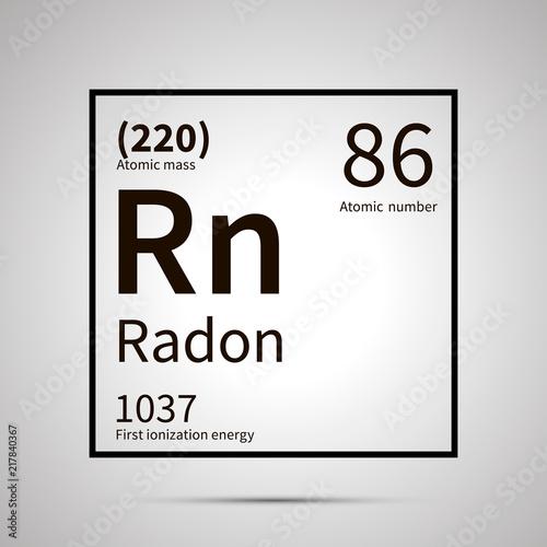 Radon chemical element with first ionization energy and atomic mass values ,simp Tapéta, Fotótapéta