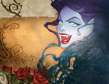 Cartoon Anime Halloween Illustration Of A Beautiful Charming Vampire Woman With Red Lips, Sharp Teeth, Gorgeous Black Hair And Shiny Green Magic Eyes Smiling