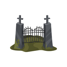 Old Iron Entrance Gate On Stone Pillars With Crosses. Halloween Theme. Flat Vector For Computer Or Mobile Game