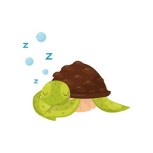 Flat Vector Icon Of Cute Sleep...