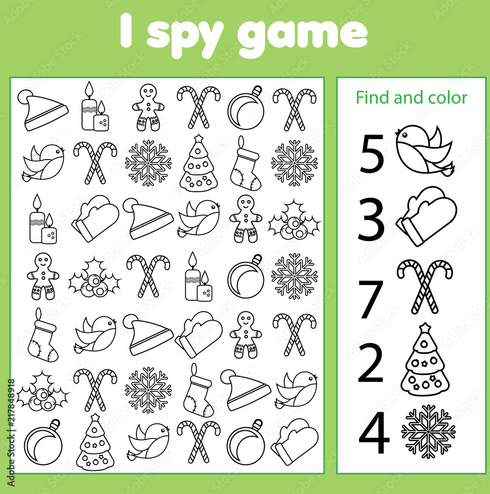 Fototapeta I spy game for toddlers. Find and count objects. Counting educational children activity. Christmas and new year holidays theme