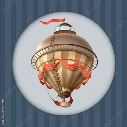 Balloon retro blimp ship with flag greeting card frame Canvas Print