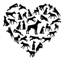 Dobermann Dog Heart Silhouette...