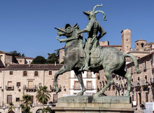 Equestrian Statue Of The Conquistador Francisco Pizarro, The Work Of The American Sculptor Charles Cary Rumsey, Located On A Granite Pedestal In The Main Square Of The City, Trujillo, Spain