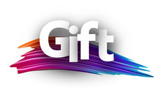 Gift Paper Card With Colorful Brush Stroke.