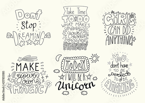 Poster Positive Typography Set of hand written inspirational lettering quotes. Isolated objects. Hand drawn black and white vector illustration. Design concept for t-shirt print, motivational poster.