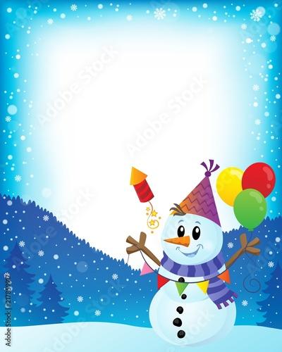 Poster Voor kinderen Party snowman theme image 2
