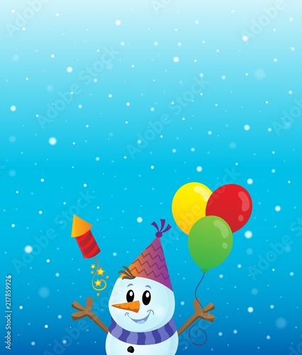 Foto op Canvas Voor kinderen Party snowman theme image 3