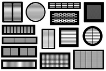 Set Of Different Ventilations Grilles Isolated On White
