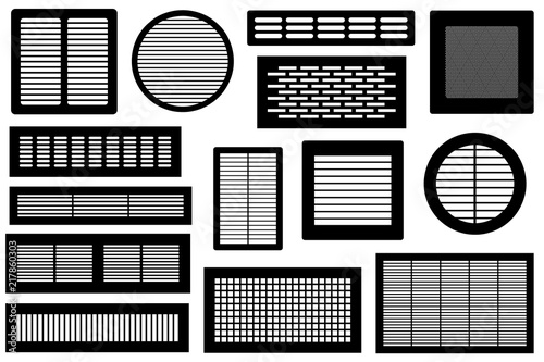 Obraz na płótnie Set of different ventilations grilles isolated on white